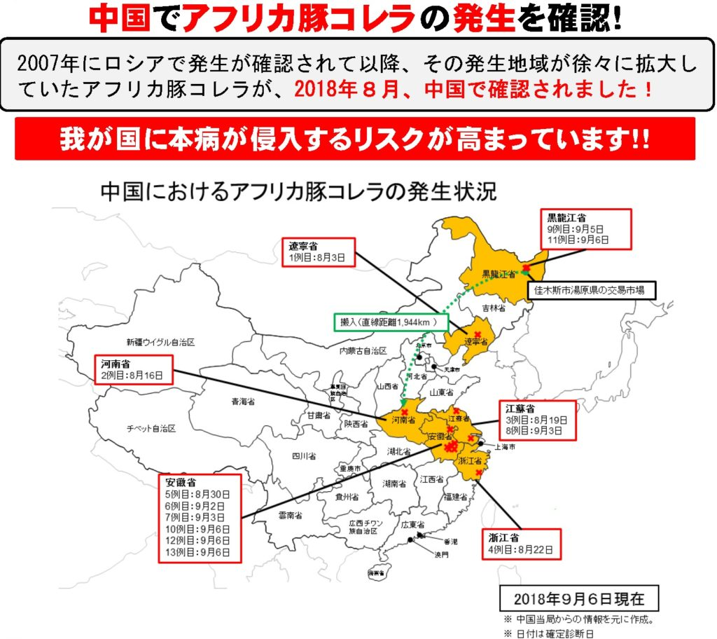 2018年8月には中国で初めてアフリカ豚コレラの感染を確認!